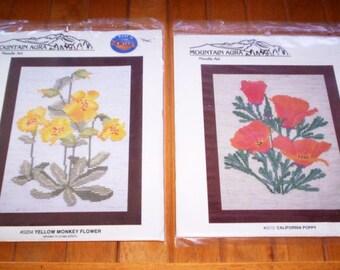 2 Cross Stitch Kits Collectible MOUNTAIN AURA WILDFLOWERS Orange California Poppy & Yellow Monkey Flowers - 18 count Fiddler's Cloth Thread