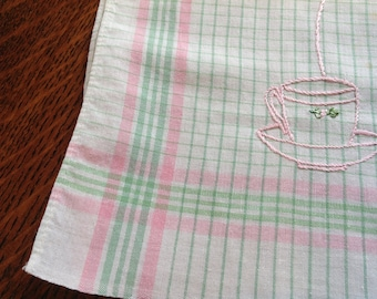 Vintage Tea Towel,  Cup and Saucer, Embroidered Pink and Green, Plaid Cotton, 60's Linen