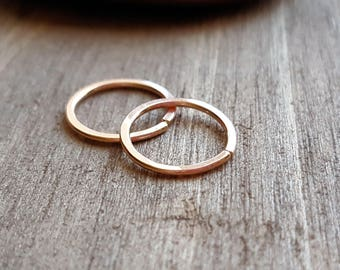 Simple Hoop Earrings, 18g Rose 14k Gold Filled, Lobe, Cartilage, Tragus, Helix, Choice of 8mm, 10mm or 12mm - by the Pair or Single