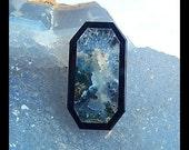 Ocean Jasper,Obsidian Intarsia Gemstone Cabochon,30x16x5mm,5.1g