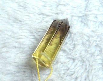 Focal Beads, Yellow Quartz Gemstone Faceted Pendant Bead,38x14x13mm,11.9g