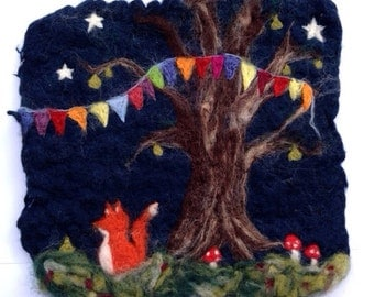 The Night Fox 16 - Whimsical Felted Wall Hanging. Fox under Pear tree Toadstools forest stars woodland storm
