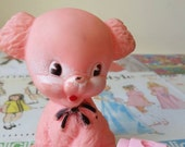 Vintage kitsch squeaky toy pink puppy dog squeak Made in England Sun rubber Edward Mobley style vintage nursery decor