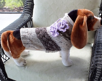 Dog Sweater Le Fleur Medium Large 15.5 inches long Wool
