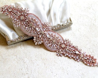 Rose gold Bridal Crystal Sash. Wide, Thick Rhinestone Pearl Wedding Dress Belt.  Blush Pink Elegant Bride Sash.