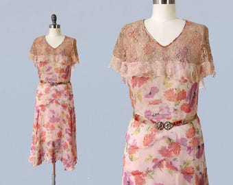 1930s Dress / Pink Lilac Floral Print Chiffon Summer Dress / 30s Sheer Floral / Lace Capelet Collar