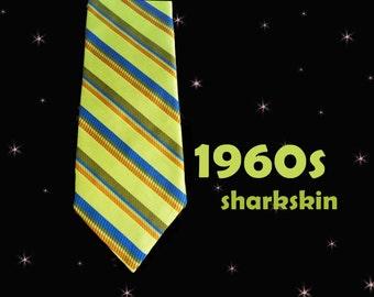 Vintage Sharkskin Necktie - 1960s Iridescent Tie with LOUD Stripes