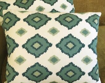Martyn Lawrence Bullard Schumacher Linen Fabric Custom Designer Throw Pillows New Sikar 2 Blue Seafoam Green