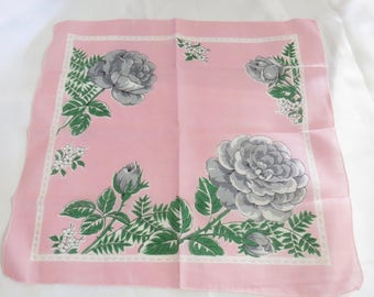 Vintage Pink and Gray Floral Hankie Handkerchief with Flowers
