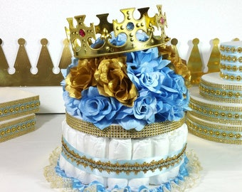 DIAPER CAKE Centerpiece With Crown For Little Prince Baby Shower / Boys Baby  Blue U0026 Gold