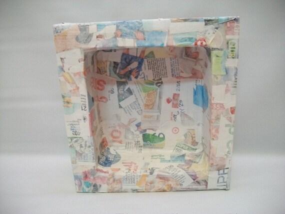 paper mache collage on canvas
