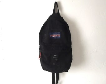 JANSPORT black distressed punk GRUNGE vintage 90s BACKPACK day pack