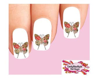 Waterslide Nail Decals Set of 20 - Vintage Victorian Butterfly with Pink Roses