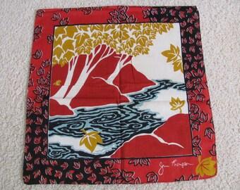 Jim Thompson Hankie // Beautiful Red Silk Cotton Hankie Napkin Small Mini Scarf - Signed Designer - New Unused