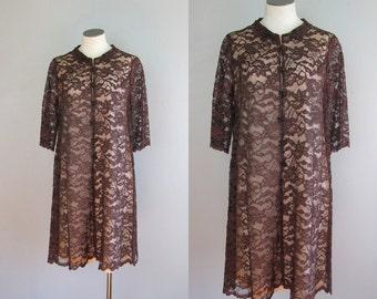Vintage 1960s Brown Lace Illusion Dress. 60s Carol Craig Lace Tent Dress. Size Small Medium