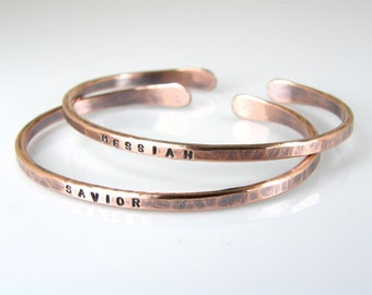 Copper Name Bracelet, Personalized 8 Gauge Hammered Stamped & Antiqued Copper Bracelet, Mens or Womens
