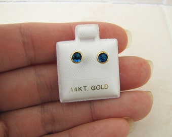 14k gold cz Sapphire stud earrings, 4MM, Baby Toddler Girl studs with screw on