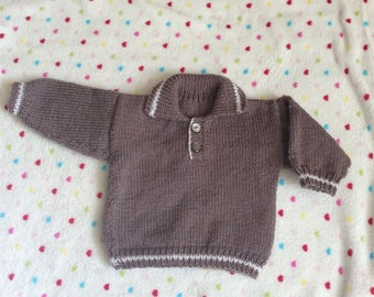 Polo style sweater hand knitted to fit 6 month old baby  boy