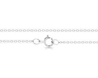 "Cable Chain 22"" With Spring Ring Clasp Sterling Silver 1mm - 1 Pc Wholesale quantity (6095)/1"