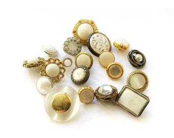 20 Gold & White Buttons, Assorted Shank Golden Buttons, Couture, Woman Fashion
