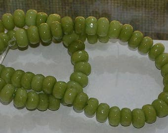 Half Strand 5x8mm Faceted Lime Green Peridot Color Jade Rondelle Gemstones - 36  P3