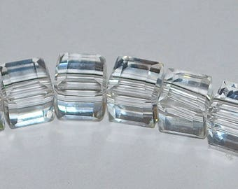 10 pcs 6mm Faceted Transparent Clear Crystal Cube Glass Beads