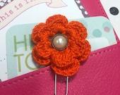 Orange Red Crochet Flower Planner Clip