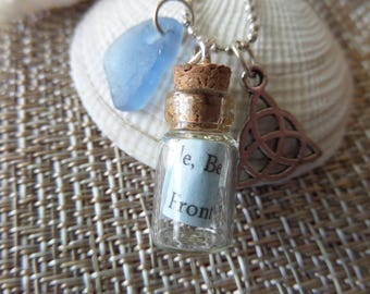 Highland Dance Long Necklace Bottle with Celtic Knot and Blue Scottish Sea Glass Highland Fling Teachers Gift
