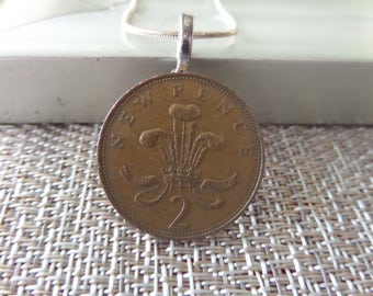 British Jewelry Coin Necklace From Scotland Genuine Two Pence in Copper 1971 BEST SELLER