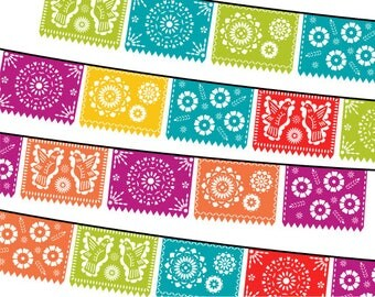 Papel Picado Clipart, Digital Fiesta Mexican Banners Clip Art, Cinco de Mayo Clip Art, Printable Papel Picado - FIESTA