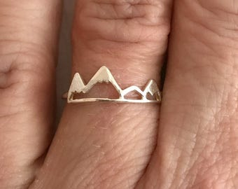 Sterling Silver Mountain Ring, adjustable band .925 travel adventure delicate mountains range hiking biking climbing gift for girlfriend