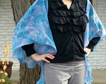 Whimsical Blue Sheer Paisley Circular Vest - shades of periwinkle blue, teal, purple. Frilly edge.