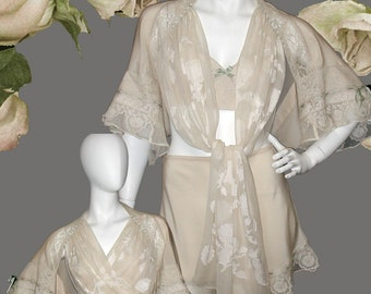Vintage Style Lingerie Ensemble - Bed Jacket, Tap Pants & Bralette in Silk and Vintage Laces - Perfect For Mother's Day or Bridal Trousseau