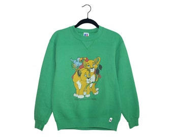 Vintage It's A Jungle Out There Baby Lions Bright Green Russell Athletic 50/50 Poly-Cotton Blend Sweatshirt, Made in USA - Youth Large