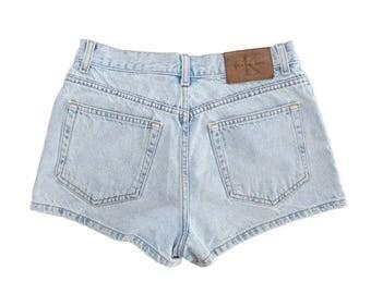 Vintage 90's Calvin Klein Classic 100% Cotton Light Denim Short Shorts, Made in USA - Size 9