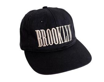 Vintage 90's BROOKLYN Nirvana Logo Font Sliver Black Snapback Hat