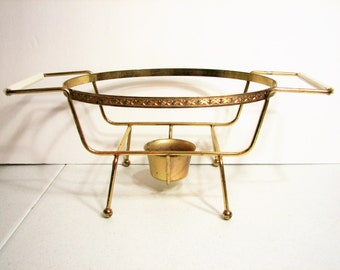 Fire-King Oval Casserole Gold Metal Warming Stand, Cradle, Trivet ... 1 1/2 Quart  / 1.5 Qt. Oval ... Anchor Hocking