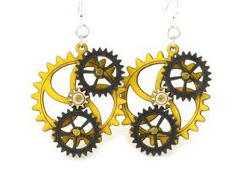 Kinetic Triple Moving Gear Earrings #5005C