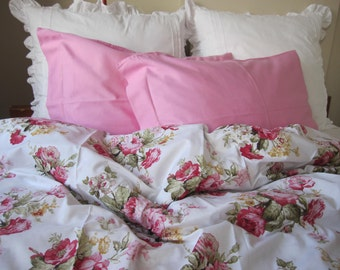 shabby chic Bedding Red green Pink roses floral print Twin/Full/Queen/Cal King duvet cover  - doona cover - romantic bedroom Nurdanceyiz