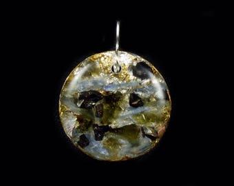 Moldavite Orgone Pendant with Arkansas, Petalite & Phenacite Crystals, Elite Shungite, Blue Kyanite, Tourmaline, Selenite, Rhodizite (d8)