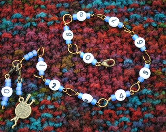 Row Counter Bracelet in Bronze and Blue