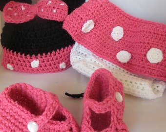 Newborn Crochet Minnie Mouse Inspired Photo Prop/Costume
