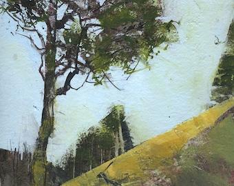 Original abstract landscape painting - Elan moorland pine-one