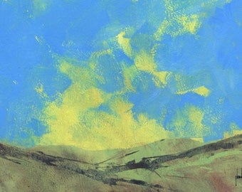 Original abstract landscape painting - The light of the valley