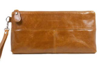 Large Leather Clutch with Pockets, Oversize Clutch Purse Wristlet, Handmade Leather Handbags Made in USA, Women's Leather Purse