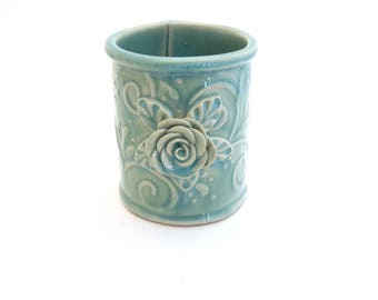 Turquoise Pencil Holder // Desk Accessory // Round Ceramic Pencil Holder with Rose Leaves and Vines // Pottery Pencil Holder //PenHolder