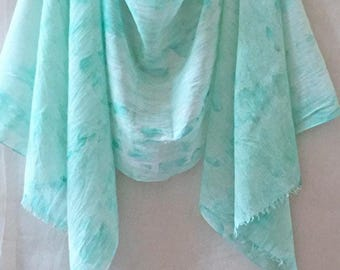 Watercolor Scarf, Green and Blue Scarf, Aqua Scarf, Mint Scarf, Hand Painted Scarf, Green Cotton Scarf, Hand Dyed Scarf, Summer Scarf, Boho