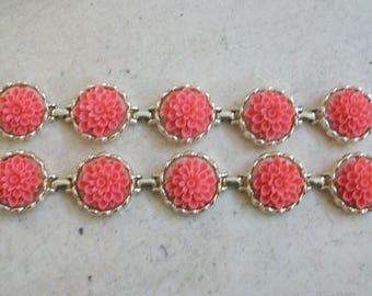 Vintage Emmons bracelet, coral color resin flower bracelet, link, gold tone bracelet, vintage, Emmons jewelry, signed