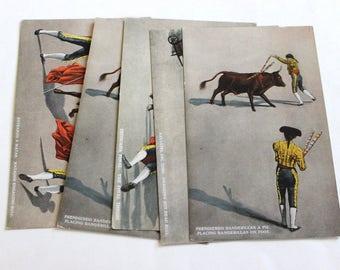 5 Vintage Bullfighting Unused Postcards Blank - Unique Travel Wedding Guest Book, Reception Decor, Travel Journal Supplies