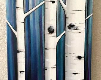 "Aspen Tree Painting, Blue and Gray - 16x20"" acrylic on canvas, Ready to ship wall art"